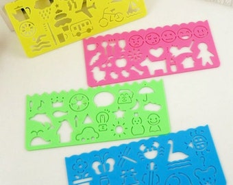 Set of 4 Plastic Stencils Kawaii Planner