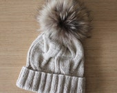 Cashmere beanie, Fur Pom Pom Hat, Gift For Her, Fur Pompom hat, Cable knit hat, Oatmeal knit hat, Beige cashmere hat, Raccoon pom pom hat
