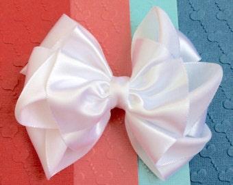 White Satin Bow, Satin hair bow for flower girls, bridesmaid, bridal hair bow, wedding hair bow, special occasion, baptis