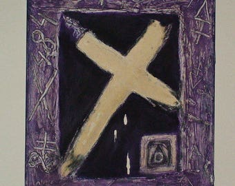 Original OCCULT PAINTING Canvas SYMBOLIC Occult Symbols Alchemy Purple Textured Painting One Of A Kind Expressionism Painting In Acrylic
