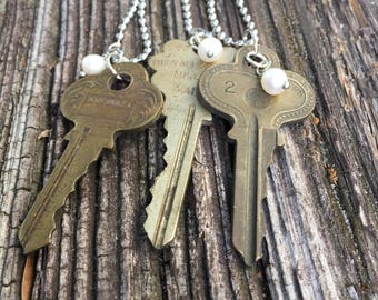 Key to life vintage key necklace