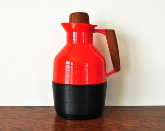 Vintage Red Rosendahl Keeper Carafe, Swedish Design, Wooden Handle, Insulated Glass Carafe
