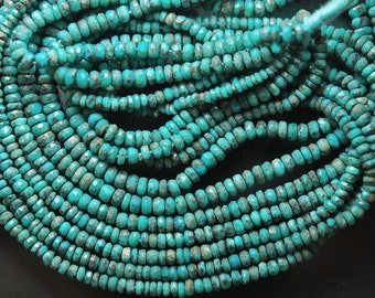 15'' Strand, Natural Arizona Sleeping Beauty Turquoise Rondelles, 3.5-4mm