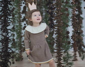 Beige baby dress / Hand knit alpaca dress for baby / toddler / Knitted winter dress / Knitted girl dress
