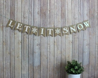 Let it Snow Banner, christmas holiday banner, winter home decor, holiday christmas home decor, winter banner, baby shower banner
