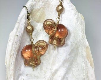 Statement Earrings, Pink Elephants, Fun Whimsical Bohemian Style Jewelry