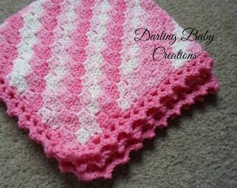 Beautiful Diaganal C2C Baby Blanket.  Perfect gift, or as a keepsake memory.