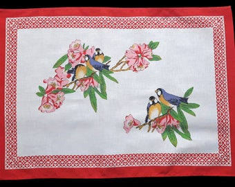 Vintage Cotton Tea Towel Birds & Flowers