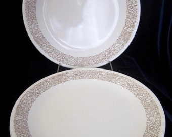 Vintage Set of 5 Corelle Woodland Brown Flower Dinner Plates - 10 inches