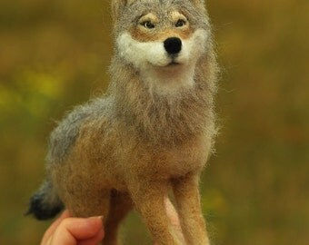 Wolf,Needle felted Wolf, OOAK figurine, animal sculpture,Art Sculpture, wolf gift,