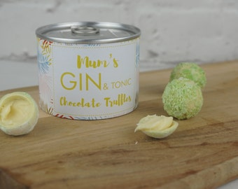 Gin and Tonic Chocolate Truffles - mother's day chocolates -adult party favors - favours - gin & tonic