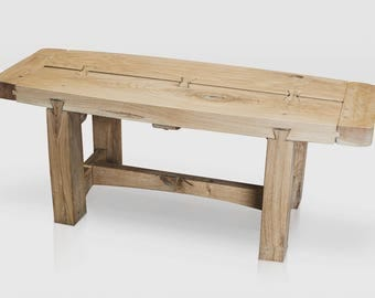 Handcrafted Solid Green Oak Bench/Coffee Table