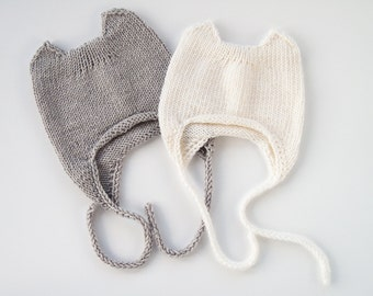 MADE TO ORDER/ Hand knitted baby hat with 2 small ears