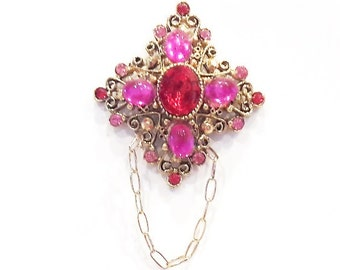 Hot Pink & Red Crystal Eyeglass Holder