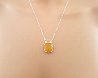Yellow Chalcedony Necklace, Layering Necklace, Delicate Necklace, Chalcedony Necklace