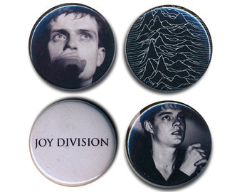 Joy Division Pin Badges Ian Curtis 25mm 1inch Badge Unknown Pleasures Logo