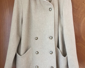 VINTAGE Herman Kay CREAM 3/4 length Wool Pea Coat | Fully lined with Versatile collar | Size 8