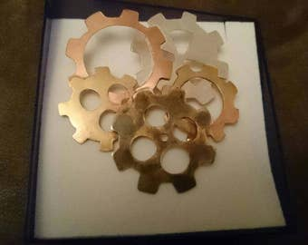 Sterling silver, copper and brass cogs cravat pin