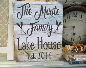 Wood Lake Sign, Lake House Decor, Personalized Lake House Sign, Custom Lake House Sign