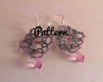 Tatting pattern earrings in tatting shuttles or tatting needle tatted lace - craft jewelry - DIY lace - instructions beaded pattern tutorial