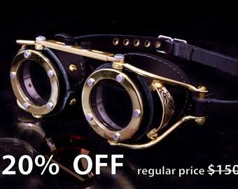 Steampunk Goggles Victorian Goth Brass All Black LARP Cosplay