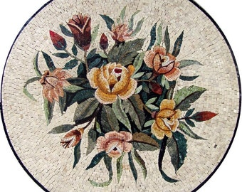 Floral Medalllion Mosaic Marble