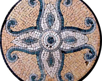 Round Tile Mosaic - Bleu de Prusse
