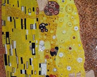 "Gustav Klimt ""The Kiss"" - Glass Mosaic Reproduction"