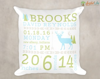 PERSONALIZED BIRTH STATS Pillow, Birth Announcement Pillow, Woodlands Nursery, Rustic Nursery, Birth Stats Pillow, Nursery Pillow