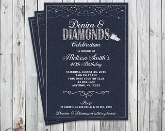 Denim & Diamonds Celebration Invitation