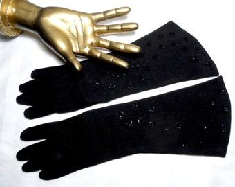 Vintage Black Gloves* Mid Length . Beads . Eyelet Cut Outs . Size 6 1/2 . Party . Prom . Wedding .Evening . Elegant .  CRESCENDOE .