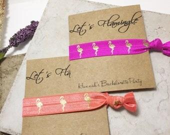Bachelorette Party Elastic Hair Tie Party Favaors Let's Flamingle Hair Ties Flamingo Hair Ties
