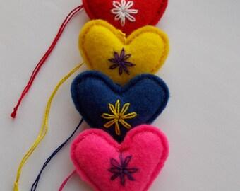 Set of 4 - Felt Heart Ornament,Valentine's Day Gift,Embroidered Heart,Wedding Decor,Bag Charm,Key Chain,Mini Pincushion,Colorful Love Hearts