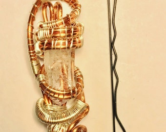 Intricate Copper Wire Wrapped Quartz Crystal Necklace Pendant