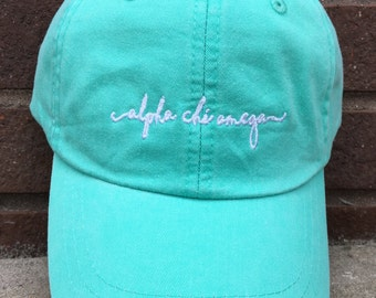 Alpha Chi Omega Handwriting Script Baseball Cap - Officially Licensed Alpha Chi Omega Hat - Custom A CHi O Handwriting hat