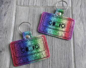 Rainbow Retro Cassette Tape Keychain