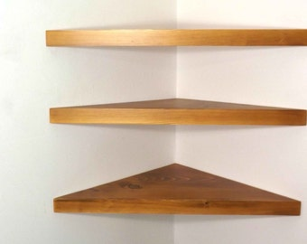 Set of 3 22 inch Floating Corner Shelves with Wheat Stain Handmade in the USA
