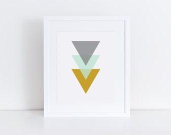 Modern Triangle Stack - Mint, Mustard, Gray - 8x10 - Geometric Nursery Art - Instant Download - Digital Print