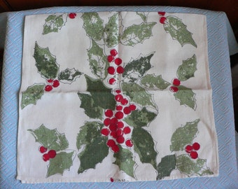 FREE SHIPPING!!! Vintage Vera Holly Berry Holiday Towel Christmas Kitchen Towel