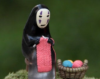 Spirited Away No face knitting with Basket Studio Ghibli Miniature terrarium Figurine DIY craft supply