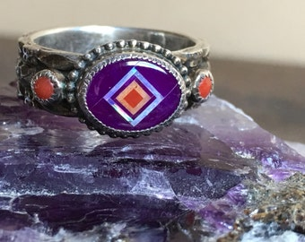Southwest Style Sterlings Silver Inlay Ring Coral, Opal, Spiny Oyster Shell and Sugilite