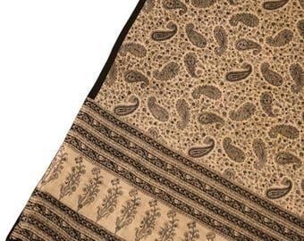 Antique Silk Saree Scarf Vintage Beautiful Silk Sari Stole Women Shawl Hand Printed Silk Sarong Curtain Drape PSS2534