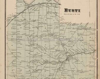 Busti New York Antique Map Original Decor History Anniversary Housewarming Gift Idea Ancestry Genealogy Stewart 1867
