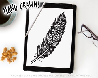 Feather SVG Cut File, Feather Clipart, Hand Drawn Feather Vector File, Silhouette Cut File, Cricut SVG, High-Res Feather Graphic Overlay