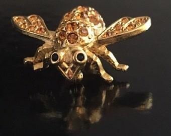 Joan Rivers Citrine Crystal Bee Brooch