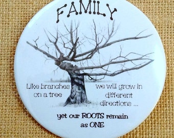 Fridge Magnet, FAMILY, Roots Remain as ONE, Gnarly Tree Drawing, Three Inch, Original Art, Tree in Pencil, Branches, Family Ties