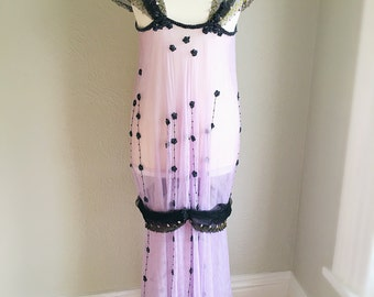 1920s Antique Beaded Tulle Flapper Dress Size M/L