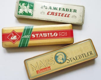 Pencil Tins / Vintage Tins in Great Condition from Mars / Staedtler and Stabilo / Farber and Castell Clean Straight