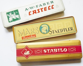 Pencil Tins / 3 Vintage Tins in Great Condition from Mars / Staedtler and Stabilo / Farber and Castell Clean Straight