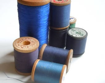 Thread / Vintage Group of Wooden Spools of Blue Thread / Assortment of 8 / Clarks / Belding / Vintage Color Palette